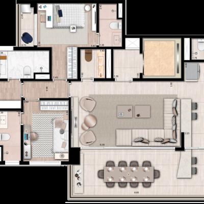 Palazzo Vila Mariana - Planta 163m² opção cozinha integrada