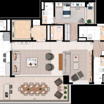 Palazzo Vila Mariana - Planta 163m² - Living Ampliado