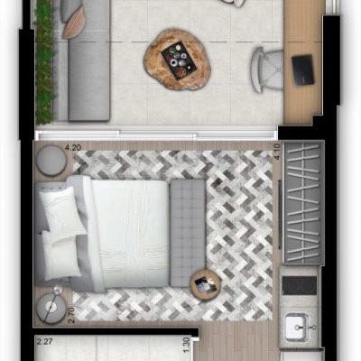 Vitrali Moema - Planta 32m² - Studio