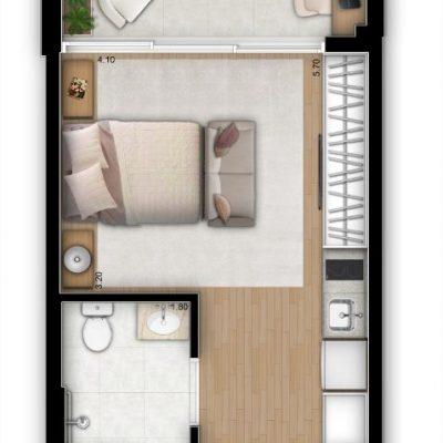 Vitrali Moema - Planta 32m² - Studio NR