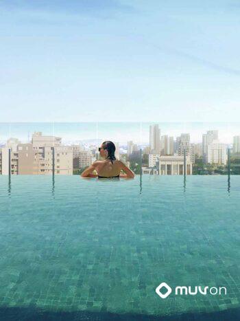K360 Humberto I - Área de lazer: Perspectiva vista piscina