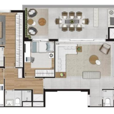 Loomi Paulista - Planta 120m 3 dormitórios