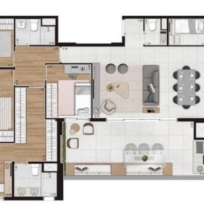 Loomi Paulista - Planta 158m 4 dormitórios