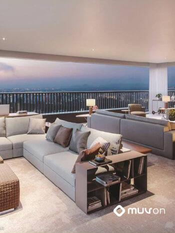 Le Parc Itaim - Perspectiva living com terraço ampliado