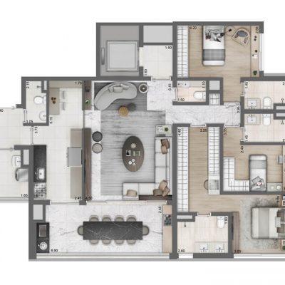 Moema By Cyrela - Planta 149m2 3 suites opção cozinha ampliada 2 vagas
