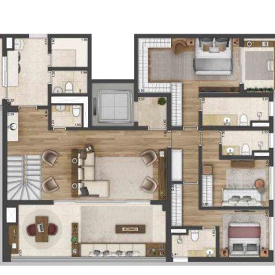One Park Perdizes -Planta 312m² cobertura duplex inferior final 1