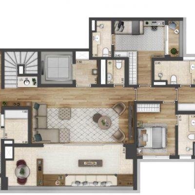 One Park Perdizes -Planta 342m² cobertura duplex inferior final 2