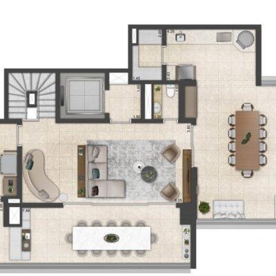 One Park Perdizes -Planta 342m² cobertura duplex superior final 2