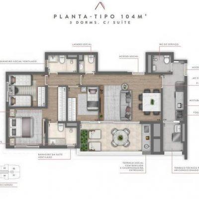 Cyrela Atmosfera - Plantas 104m² - 3 dormitórios