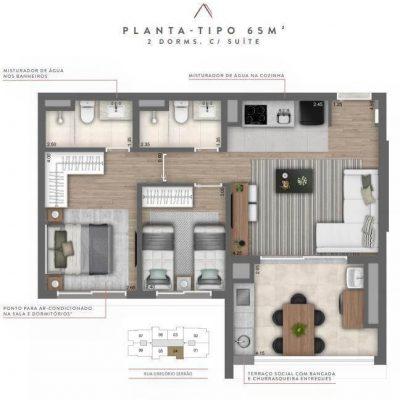Cyrela Atmosfera - Plantas 65m² - 2 dormitórios