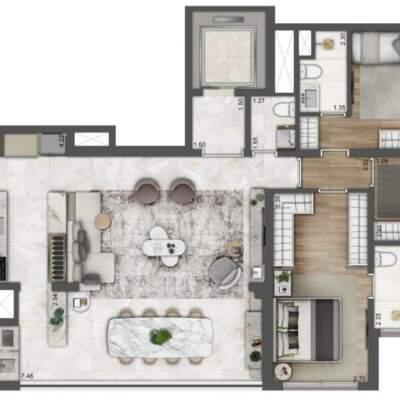 Lumiere Klabin - Lavvi - Residences - Planta 123m² - 3 Suítes Ampliado