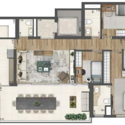 Lumiere Klabin - Lavvi - Residences - Planta 144m² - 4 Dormitórios