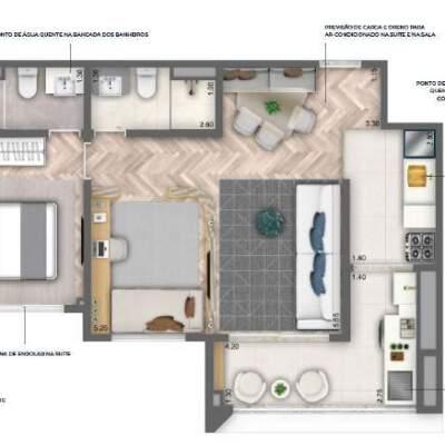 Nau Vila Mariana Cyrela Planta 62m 1 Suite