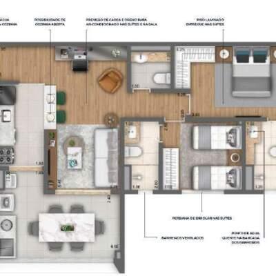 Nau Vila Mariana Cyrela Planta 75m 2 Suites Cozinha Aberta