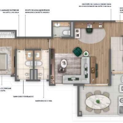 Nau Vila Mariana Cyrela Planta 78m 1 Suite Sala Ampliada