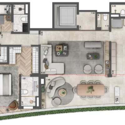 Villa Milano Lifestyle by Versace Home - Residences - Planta 150m² - 3 Suítes