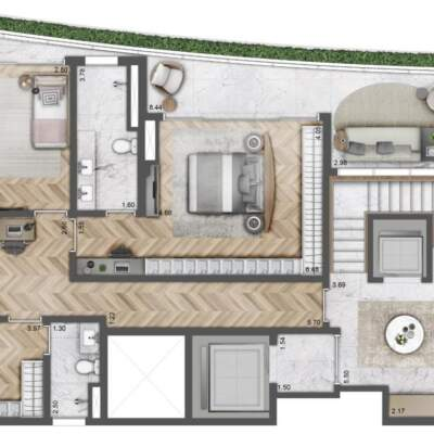 Villa Milano Lifestyle by Versace Home - Residences - Planta 291m² - 3 Suítes - Duplex - Inferior