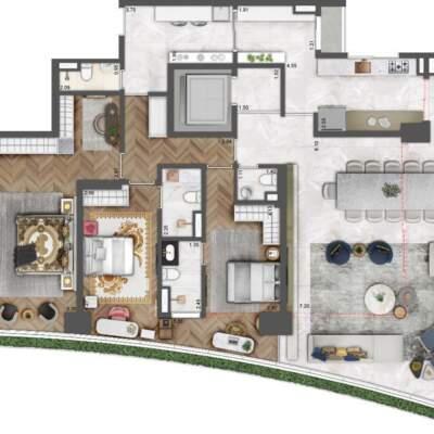 Villa Milano Lifestyle by Versace Home - Residences - Planta 220m² - 3 Suítes
