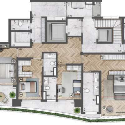 Villa Milano Lifestyle by Versace Home - Residences - Planta 419m² - 4 Suítes - Duplex - Inferior