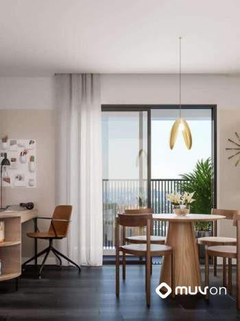 AD330 Alto da Boa Vista - Perspectiva living e cozinha de 45m²