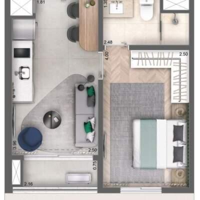 Cyrela Bothanic Apartaments Campo Belo - Planta 30m², 1 Dormitório