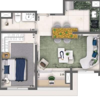 Cyrela Bothanic Apartaments Campo Belo - Planta 42m², 1 Dormitório