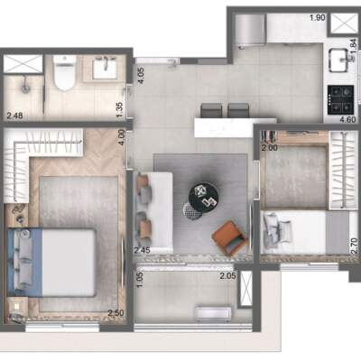 Cyrela Bothanic Apartments Campo Belo - Planta 42m², 2 dormitórios