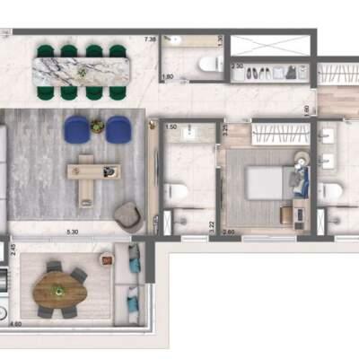 Cyrela Bothanic Residences Campo Belo - Planta 112m² - 2 suítes