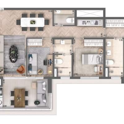 Cyrela Bothanic Residences Campo Belo - Planta 112m² - 3 suítes