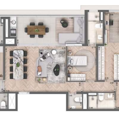 Cyrela Bothanic Residences Campo Belo - Planta 135m² - 3 suítes