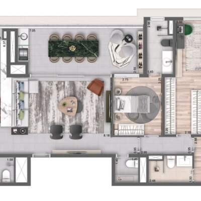 Cyrela Bothanic Residences Campo Belo - Planta 135m² - 3 suítes, cozinha aberta