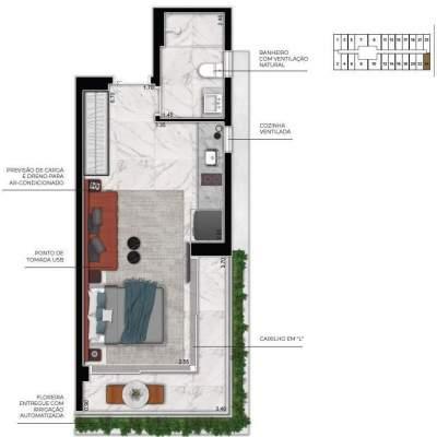 Cyrela For You Moema - Planta 36m² Studio
