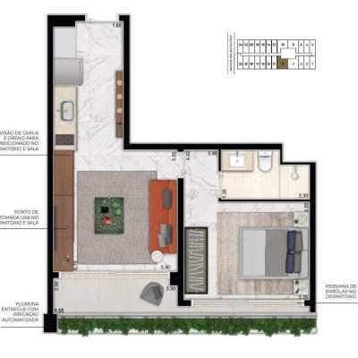Cyrela For You Moema - Planta 43m² 1 Suite
