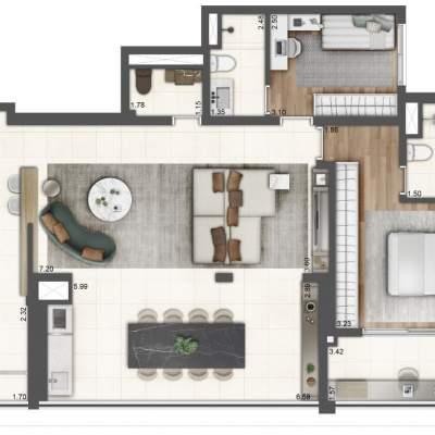 Lavvi Wonder Ipiranga Residences - Planta 107m² 2 Suites