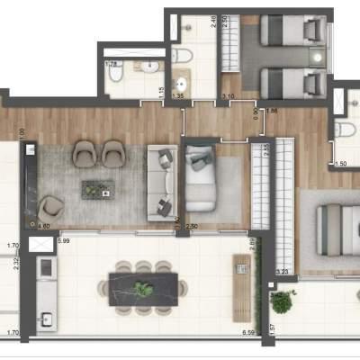 Lavvi Wonder Ipiranga Residences - Planta 107m² 3 Dormitorios