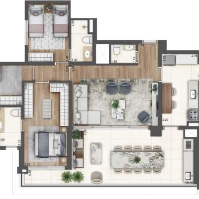 Lavvi Wonder Ipiranga Residences - Planta 127m² 3 Suites