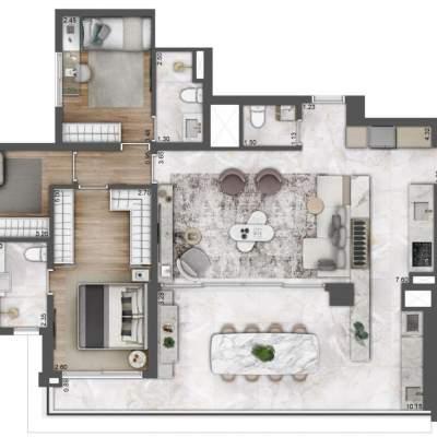 Lavvi Wonder Ipiranga Residences - Planta 127m² 3 Suites Cozinha Integrada