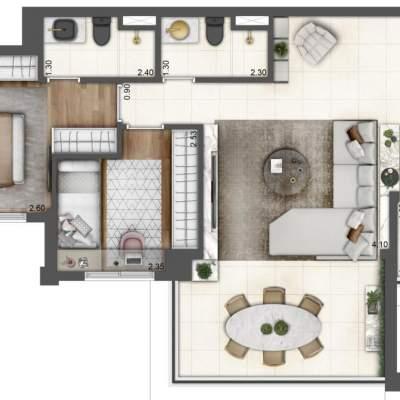 Lavvi Wonder Ipiranga Residences - Planta 75m² 2 Dormitorios