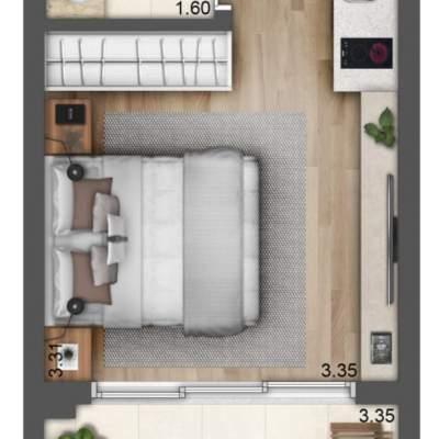 Lavvi Wonder Ipiranga Studios - Planta 28m² Residencial