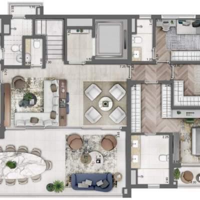 Legacy Campo Belo - Planta Duplex Inferior 330m², 4 Suítes, opção com Lavanderia