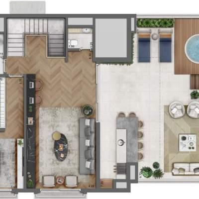 Legacy Campo Belo - Planta Duplex Superior 330m², 4 Suítes, opção com Lavanderia