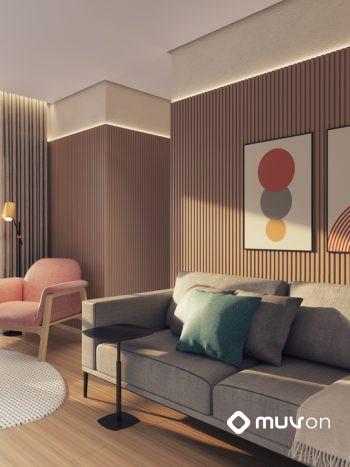 Alive Belém Home Club - Perspectiva living de 3 dormitórios