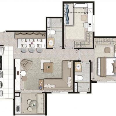 Praça Mooca by Lavvi - Planta 67m² padrão 2 dormitórios ponta